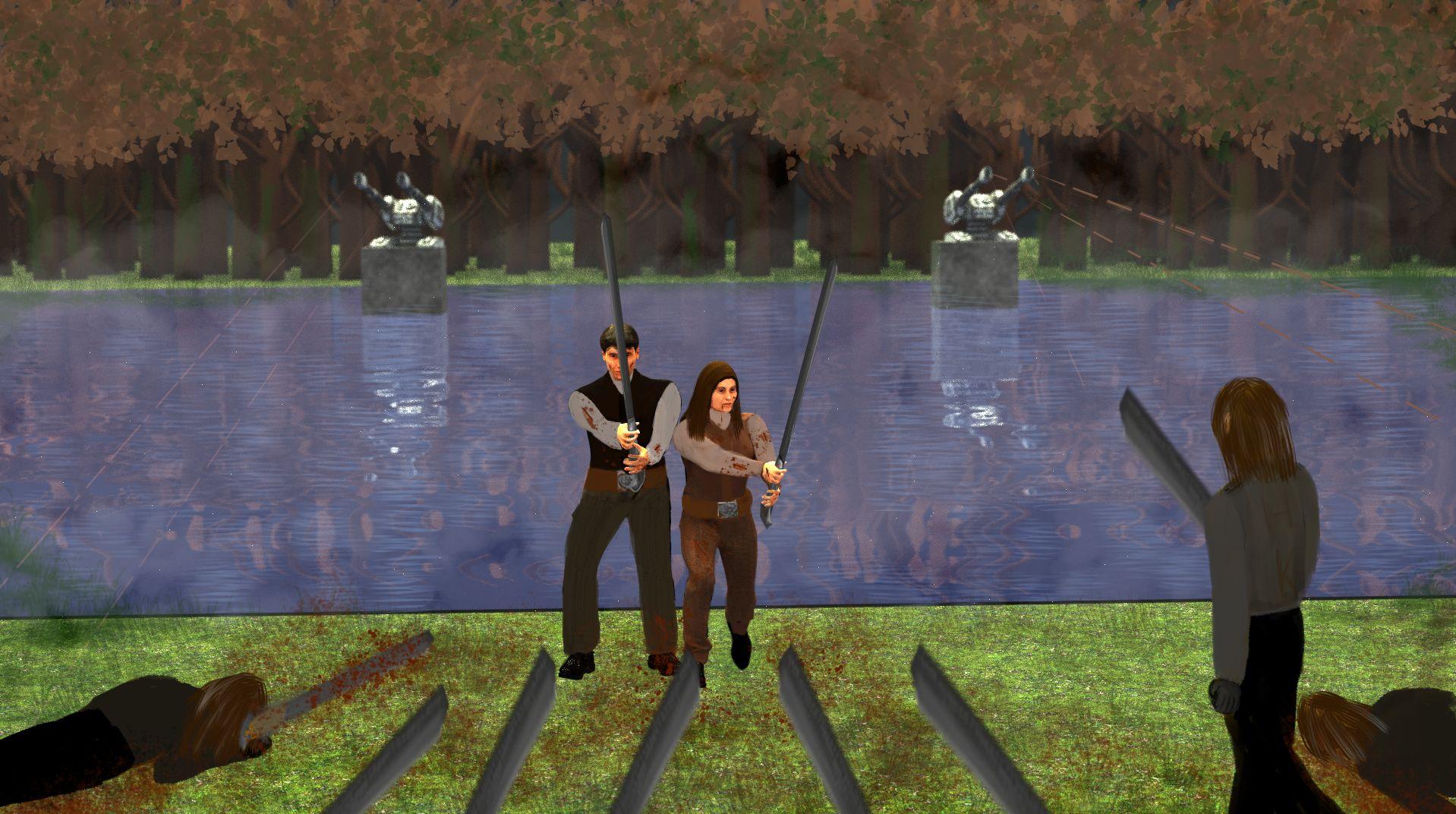 Combat au lac où vit Bronwen.