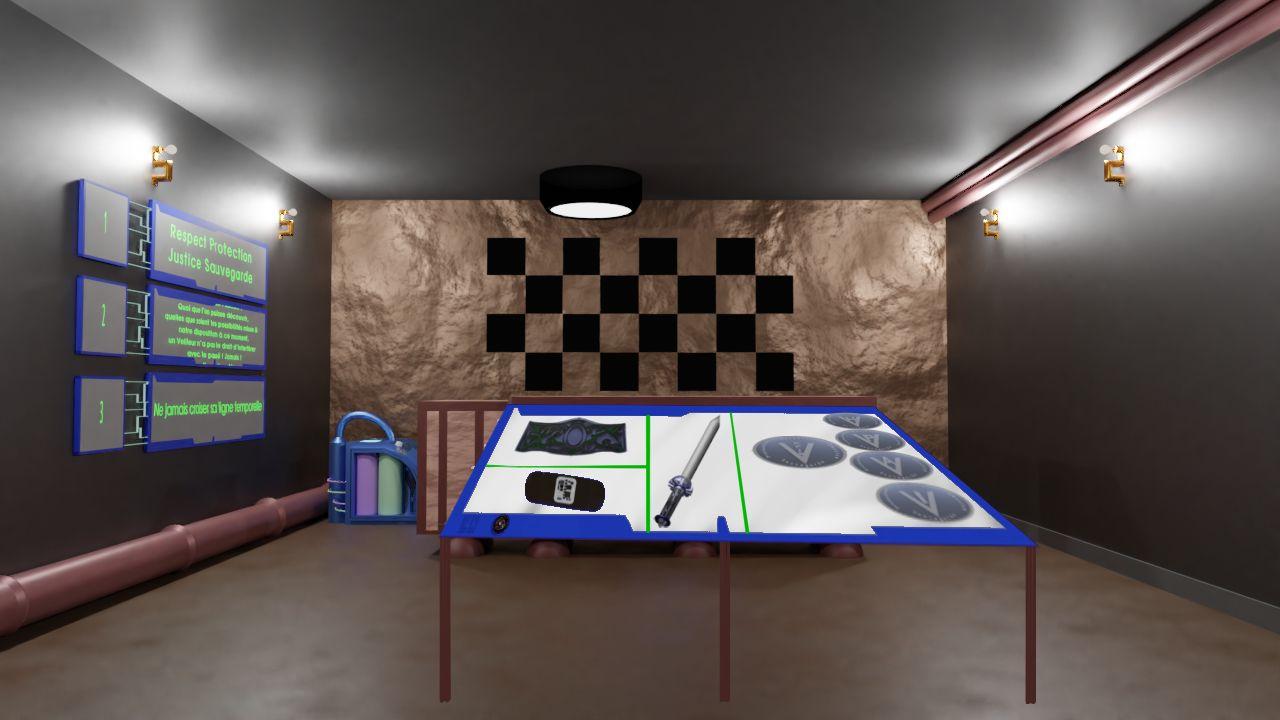 Salle de cours de la base principale avec les objets présentés.
