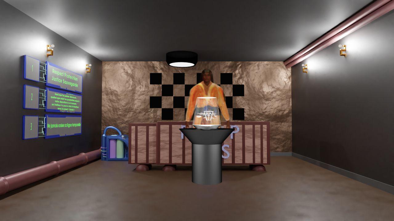 Salle de cours de la base principale avec le projecteur holographique.