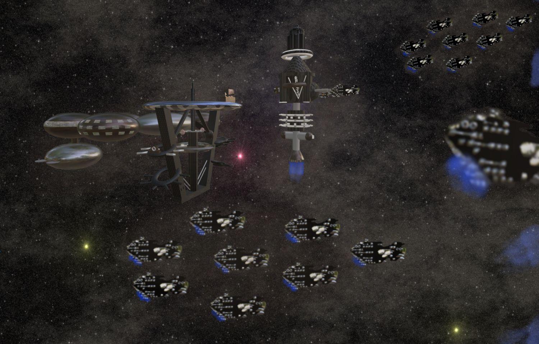 La flotte des Veilleurs au départ pour la bataille pour Métanélie.
